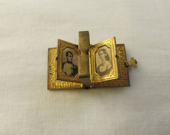 French souvenir book locket with pictures of Napoleon and Empress Eugenie c1910