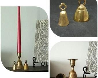 Brass Bells, Brass Candleholder, Sarna Bells, International Decor, Musical, India Art, Etched Brass, Shabby Chic Trio, Fun Accents, Cowbells