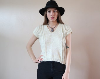 Pale Yellow Vintage Sweater Top 80's Vintage Ribbed Knit Spring Semi Cropped Cozy Retro Eighties