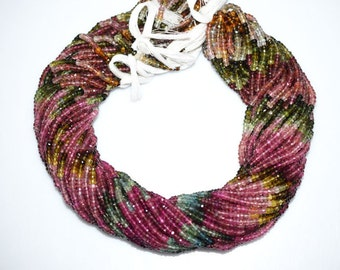 Natural Multi Tourmaline Rondelle Beads 16.5 Inch Strand , Tourmaline Faceted Rondelle Beads , 3.50 mm - MC764
