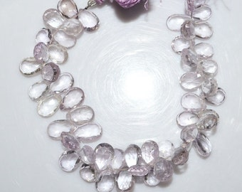 """Natural Pink Amethyst Faceted Pear Shape Beads - Pink Amethyst Pear Shape Briolette , 11x8 - 13.5x9 mm , 7.5"""" , BL1484"""