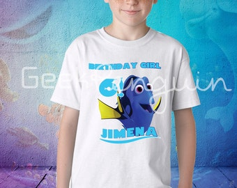 Dory Birthday Shirt, Dory Shirt, Finding Dory family shirts, Personalized Nemo Shirt, Birthday t-shirt for girls add name and age,