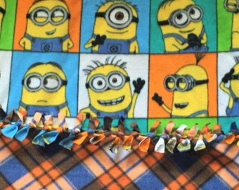 MANY FACES of MINION fleece throw blanket! Gift this one of a kind creation to a Minion lover.