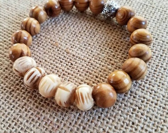 Brown Olive Wood and White Carved Bone Bracelet, Wood Bead Bracelet, Brown Wood Bracelet, Bone Beads, Olive Tree Beads, Bead Bracelet