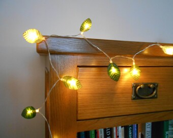Maple Garland String Lights : Green Leaves Garland String Lights / Fairy Lights Wedding