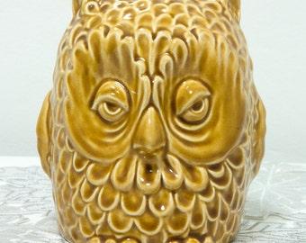 Vintage SylvaC Owl money bank 5106, England, ceramic, golden brown, Retro collectible