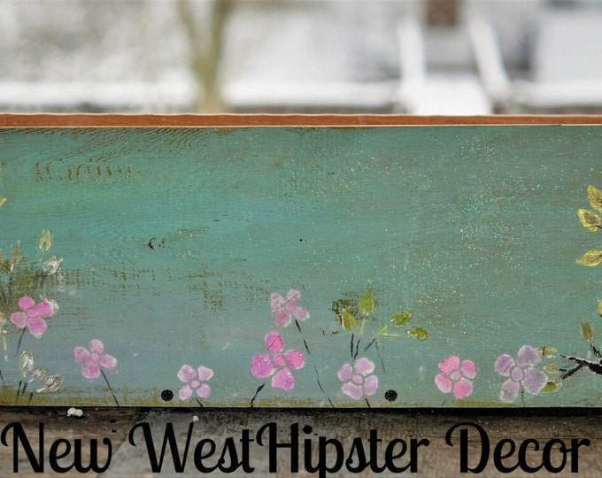 Farm House Decor, hand Painted Box, Rustic Decor, Folk Art Planter, Wood Box Planter, Cedar Box, Plaster Design, Teal, Green, Plant, Storage