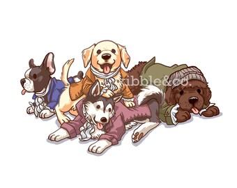 Hamilton Musical, Alexander Hamilton, Art Print, Dogs, Hamilton Broadway, Hamilton Prints, Lin Manuel Miranda, Daveed Diggs, Broadway Dogs