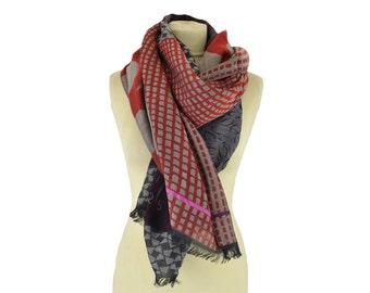 Fleur Wax red - Woman's scarf - La Tribu des Oiseaux