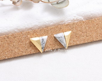 White Howlite Half Triangle Stud Earrings, Pyramid White Marble Stud Earrings