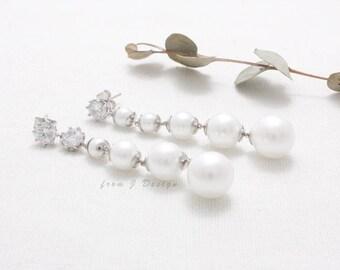 CZ Accent Pearl Long Dangling Earrings, Mismatched Stud Earrings
