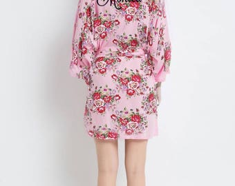 """Personalized """"cotton"""" Floral Robe Perfect For Bride, Bridesmaid, Mother Of The Bride, Maid Of Honor, Kimono, Pregnancy"""