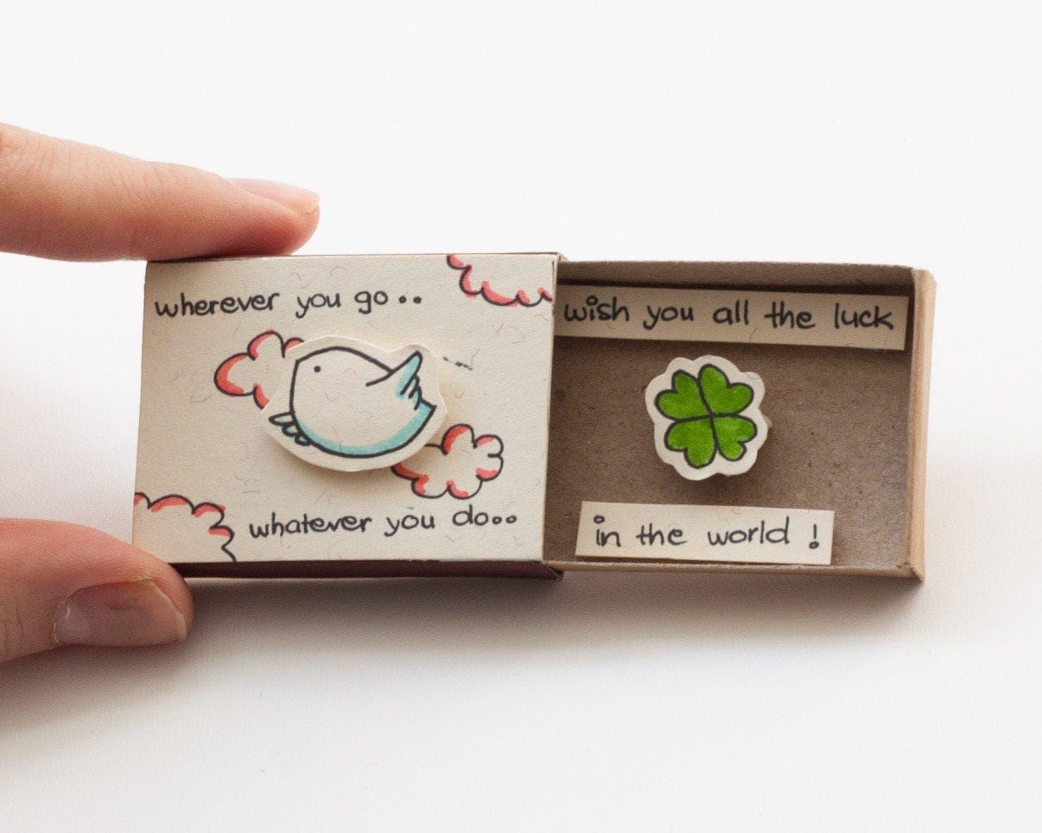 cute farewell card goodbye card bird matchbox  gift box