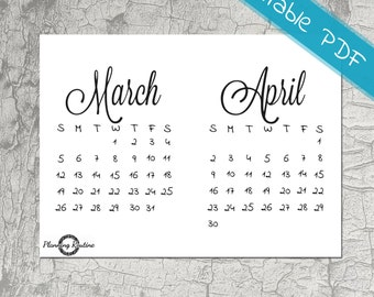March April Calendar 2017, Monthly Planner, March 2017, April 2017, Printable Stickers, Monthly Calendar