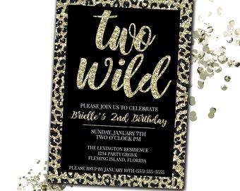 Two Wild Birthday Invitation, Cheetah Print Birthday Invitation, Faux Glitter Invitation, 2nd Birthday Invitation Girl, Printable Invitation