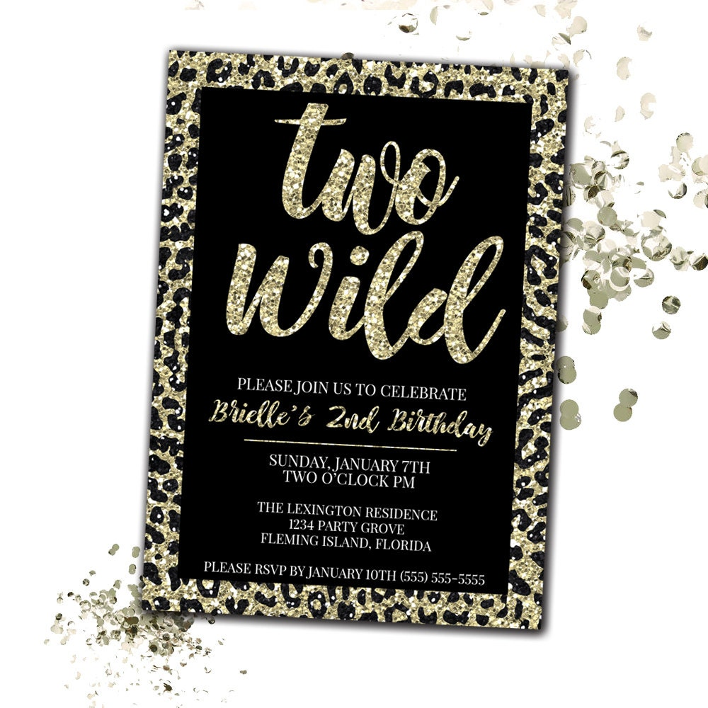 Two Wild Birthday Invitation Cheetah Print Birthday – Cheetah Birthday Invitations