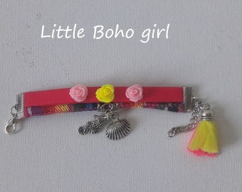Boho pink girl child  Friendship cuff, Ibiza style girls roses and beach charms bracelet, size 5 > 6 inch