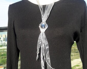Boho chic necklace silver gray lace, and leather with big silver glass pendant charm removable up and down, Modern style tie necklace