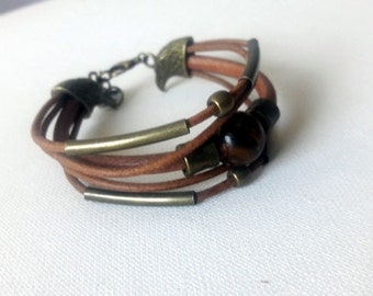 Eagles leather and copper cuff, Leather bracelet with eagle closure, Cuff copper and tiger eye bead cuff    Gift for him