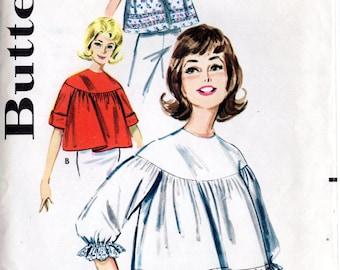 Vintage 60's Blouse Top Pattern: Butterick 9981; size 18-20, bust 30-40; Retro Mid-Century Cool! c. 1960