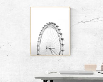 Top of the World, Ferris Wheel Photography, Minimalist Print, Black and White Prints, INSTANT DOWNLOAD, Printable Art, Modern Home Decor