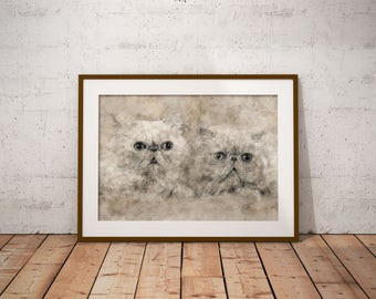 Persian Cats Art Two Cats Poster Cat Painting Persian Cat Drawing Modern art with Persian Cats Pastel Drawing of Persian cats Romantic art