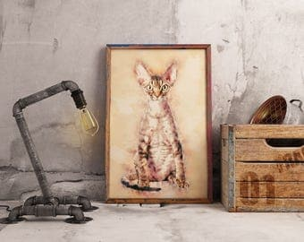 Striped Devon Rex Cat Art Custom Sweet Devon Rex Cat Art Custom Pet Giclee Feline Living Room Minimal Art Portraits Contemporary Artwork