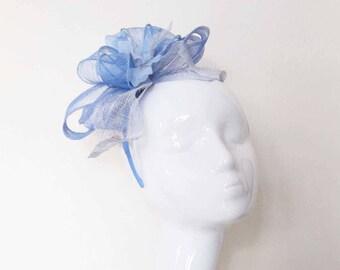 Pretty Cornflower Blue Bow Fascinator