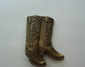 Western Boot Belt Buckle, Brass