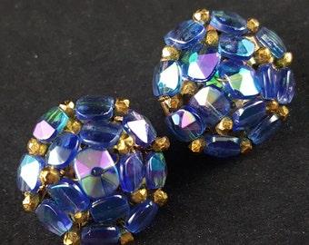 Beautiful Vintage Signed Vogue Purple Aurora Borealis Glass Cluster Bead Earrings