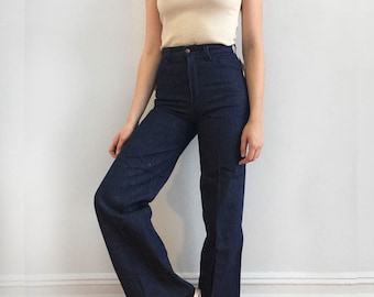 70s Deadstock Wide Leg Indigo Denim Jeans