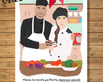 Custom Illustrations/Custom Portrait / Illustration personalized couples