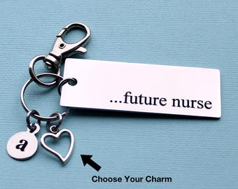 Personalized Nurse Key Chain Future Nurse Stainless Steel Customized with Your Charm & Initial - K756