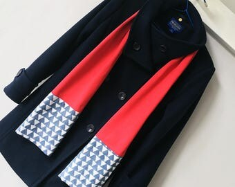 Red Block Print Cotton & Jersey Scarf