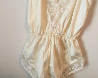 Vintage Lace White Bodysuit Size S/M