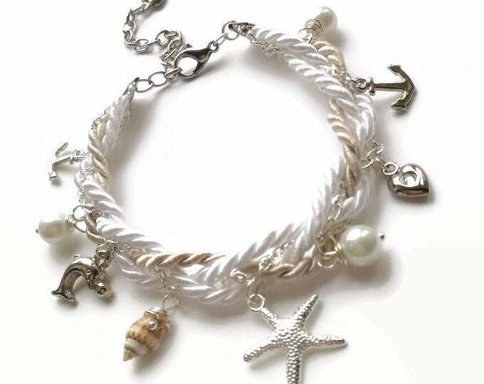 Starfish bracelet,Beach Wedding jewelry,Bridal jewelry, Beach Wedding bracelet,Seashell bracelet, Nautical bracelet,Dolphin bracelet