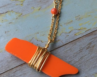 TN Short Gold Necklace Orange Glass Wrapped/ Tennessee Orange Necklace Stained Glass with Glass Beads