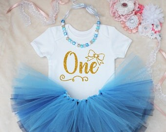 One Bow First Birthday Baby Girls Tutu Outfit