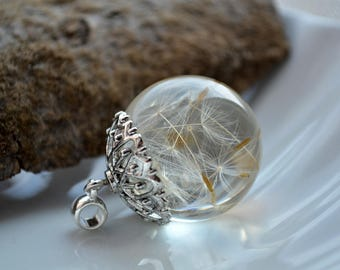 Resin Jewelry - Natural jewelry Botanical pendant dandelion resin Real dandelion seeds pendant Resin Necklace gift for girlfriend