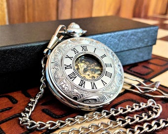 Engraved pocket watch, silver pocket watch, groomsmen watches, husband gift, vintage watch, boyfriend gift, skeleton watch, gift for him