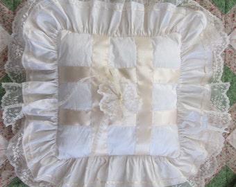 Handmade silk ring cushion * handmade silk ring pillow * Lace ring bearers pillow * lace and ribbon silk cushion * Satin and silk frill *
