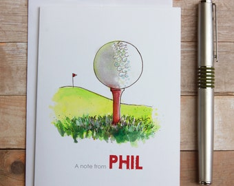 Personalized Golf Note Cards - Golf coach gift, golf ball note, golf tee, watercolor golf ball, thank you note, golf thank you
