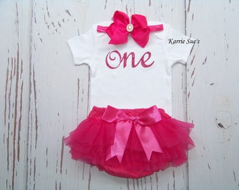 First Birthday Outfit / Hot Pink / Onesie / Chiffon Bloomers / Headband / Glitter / 1st Birthday / Cake Smash/ Baby/ Girl/ Toddler/ Boutique