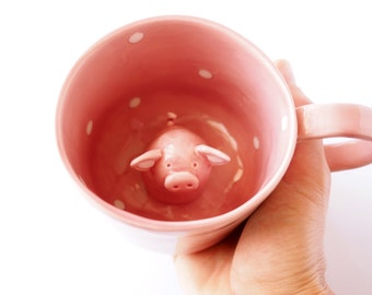 Surprise Pig Cup, Cute Hidden Animal Mug, Piggy Tea Cup, Pig Coffee Mug. Italian clay, hand painted mug in pink, white glaze.