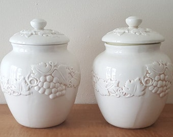 Vintage 2 Ceramic Canisters Grapes and Vines Ispirado Seattle Stonelite Ceramic Ivory Cookie Jar/Biscotti Jar~White Grapes & Vine Pottery