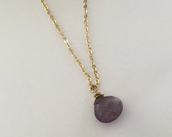 Amethyst necklace, February Birthstone, Gold Necklace, Purple amethyst, February Birthday gift, Purple necklace, Goldfilled necklace,