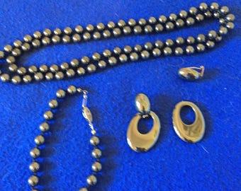 Black Hematite set. Vintage black hematite necklace, bracelet, and earring set.
