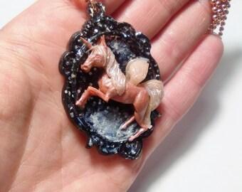 unicorn rose gold necklace OOAK- collana unicorno oro rosa