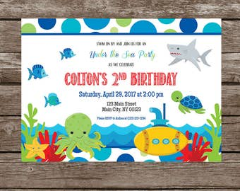 Under the Sea,  Sea Creatures, Submarine Birthday Invitation-Digital