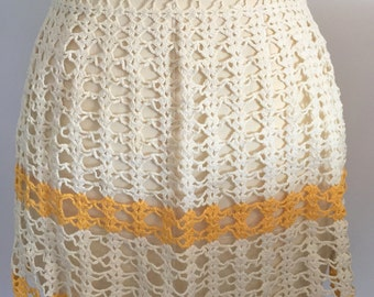 Vintage Crochet Half Apron Retro Hostess Apron